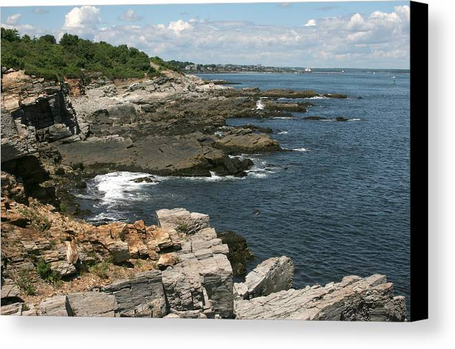 Maine Canvas Print featuring the photograph Rocks Below Portland Headlight Lighthouse 5 by Kathy Hutchins