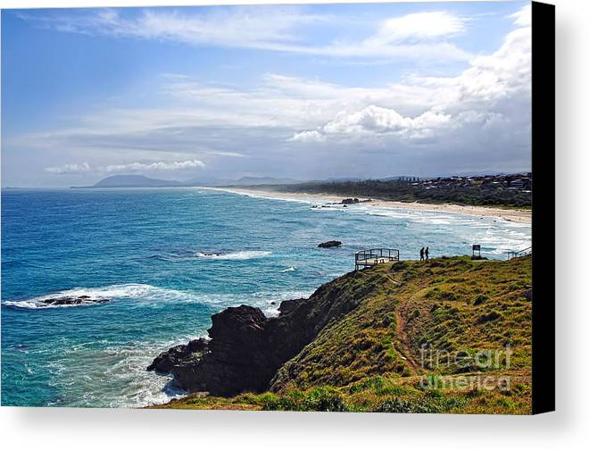 Photography Canvas Print featuring the photograph Rocks Ocean Surf And Sun by Kaye Menner