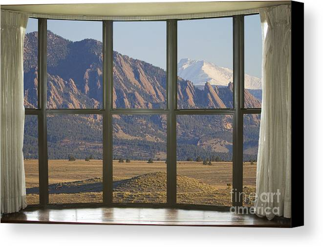 Window Canvas Print featuring the photograph Rocky Mountains Flatirons With Snow Longs Peak Bay Window View by James BO Insogna