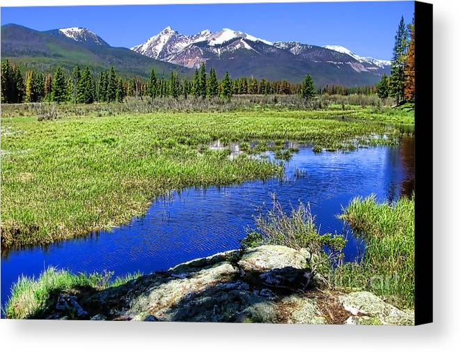 Colorado Canvas Print featuring the photograph Rocky Mountains River by Olivier Le Queinec