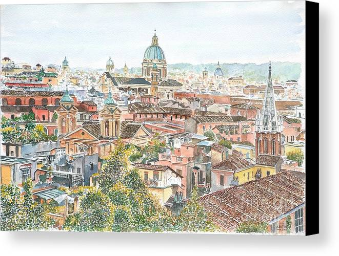 Rome Overview From The Borghese Gardens Canvas Print featuring the painting Rome Overview From The Borghese Gardens by Anthony Butera