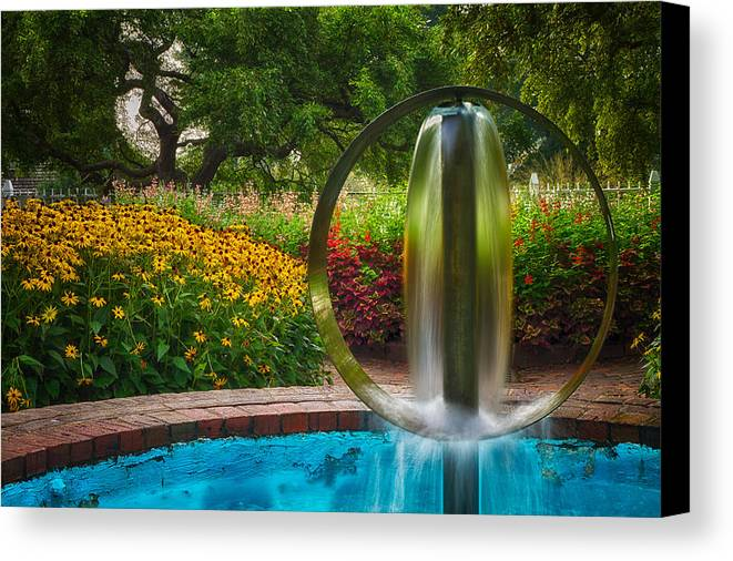 Prescott Park Canvas Print featuring the photograph Round Water Sculpture Prescott Park Garden by Jeff Sinon