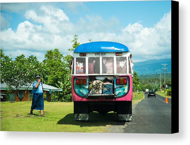 Bus Canvas Print featuring the photograph Routine Check by S Rodriques
