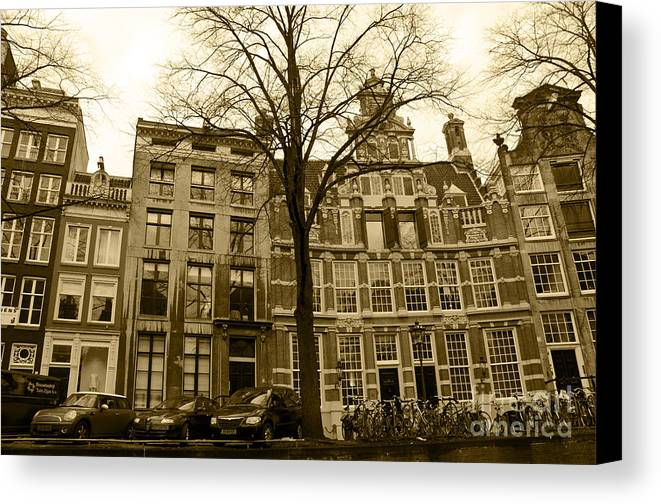 Houses Canvas Print featuring the digital art Row Houses by Pravine Chester