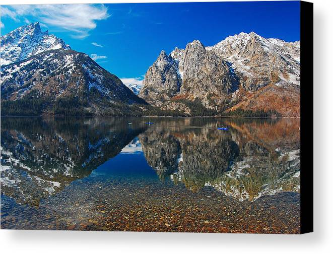 Teton Canvas Print featuring the photograph Row Your Boat by Jim Southwell
