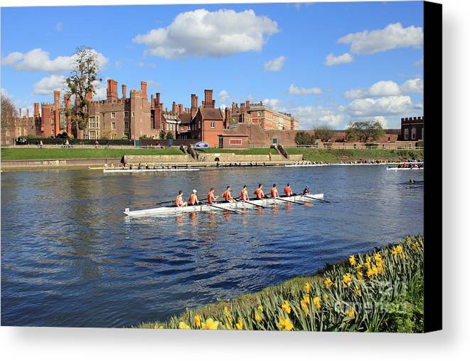 British English Countryside Landscape Rowing On The Thames At Hampton Court Canvas Print featuring the photograph Rowing On The Thames At Hampton Court by Julia Gavin