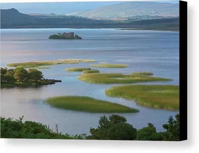 Landscape Canvas Print featuring the photograph Ruins In Lough Corrib Connemara by Carl Bruemmer