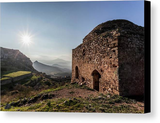 Akrokorinthos Canvas Print featuring the photograph Ruins Of A Stone Building Corinth by Reynold Mainse