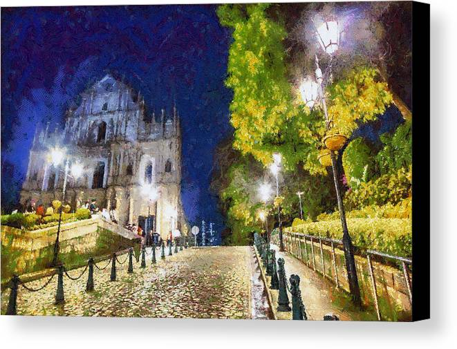 Ruins Of St Paul Canvas Print featuring the painting Ruins Of St. Paul's During At Night by Patricia Soon