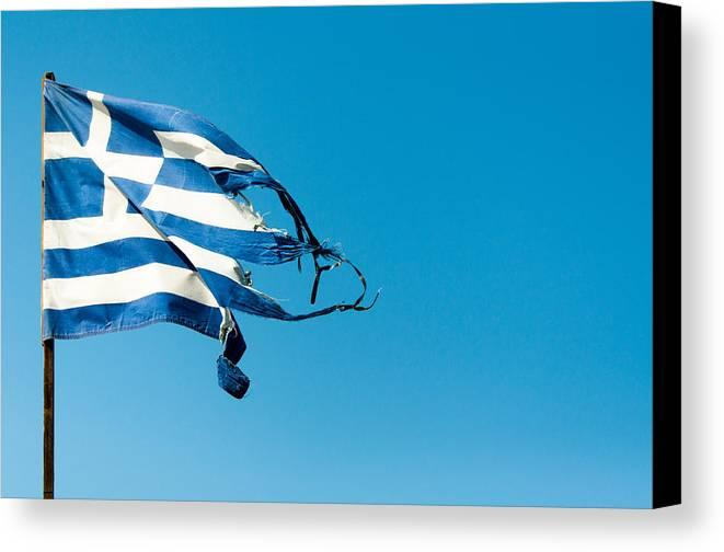 Greece Canvas Print featuring the photograph Rundown Greece Flag by Frank Gaertner