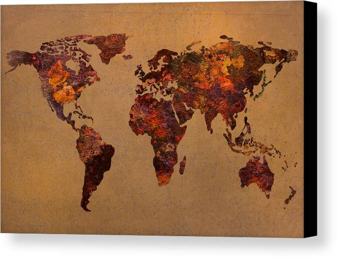 Rusty Canvas Print featuring the mixed media Rusty Vintage World Map On Old Metal Sheet Wall by Design Turnpike