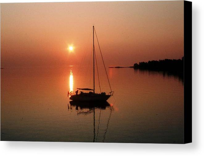 Sailboat Canvas Print featuring the photograph Sailboat In Sunset by Lars Tovander
