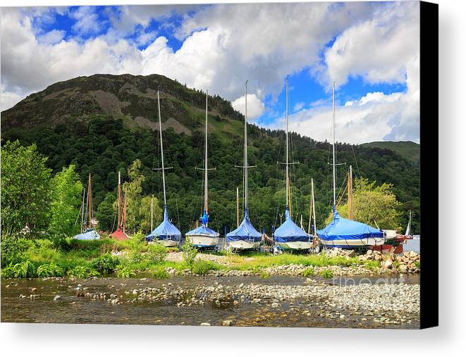 Covered Canvas Print featuring the photograph Sailboats At Glenridding In The Lake District by Louise Heusinkveld