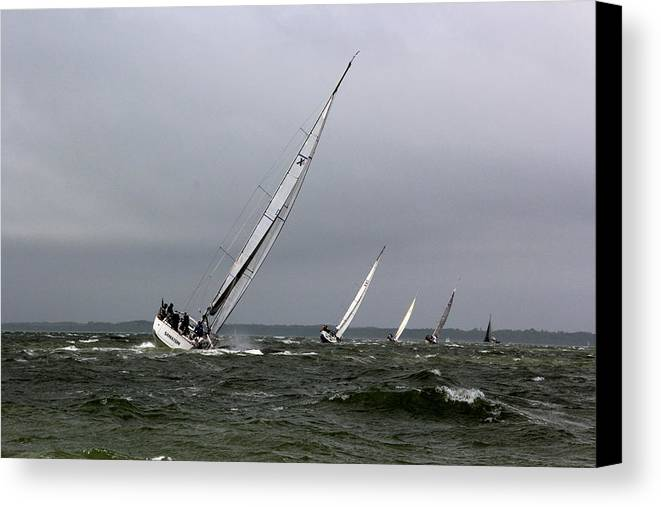 Sailing Canvas Print featuring the photograph Sailing To Windward by Anders Skogman