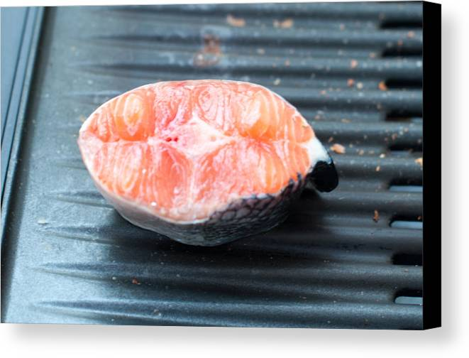 Salmon Canvas Print featuring the photograph Salmon Fillet On Bbq by Frank Gaertner