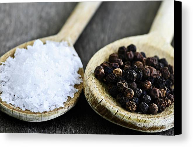 Peppercorns Canvas Print featuring the photograph Salt And Pepper by Elena Elisseeva