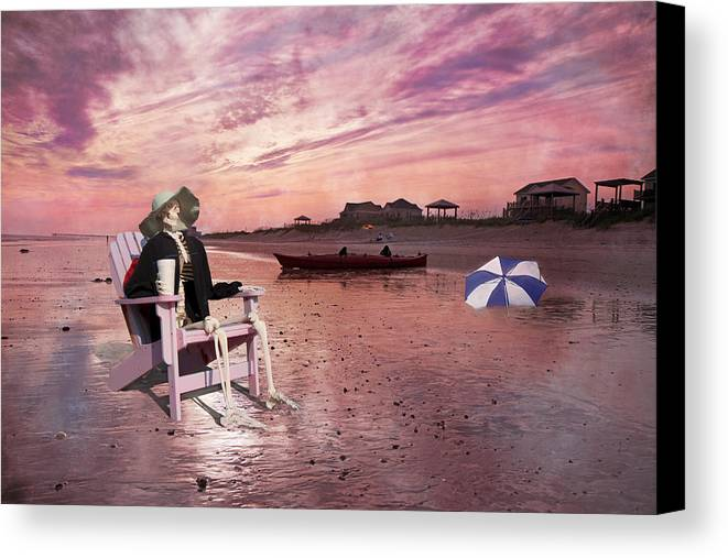 Topsail Canvas Print featuring the digital art Sam Takes A Break From Kayaking by Betsy Knapp