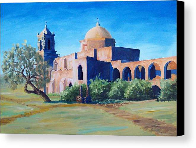 Landscape Canvas Print featuring the painting San Antonio Mission by Scott Alcorn