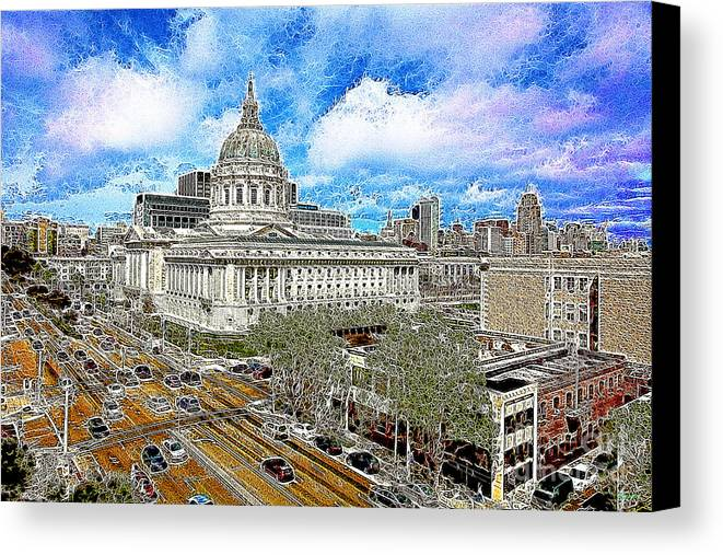 San Francisco Canvas Print featuring the photograph San Francisco City Hall 5d22507 Photoart by Wingsdomain Art and Photography