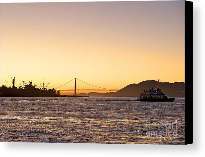 San Francisco Harbor At Pier 39 Canvas Print featuring the photograph San Francisco Harbor Golden Gate Bridge At Sunset by Artist and Photographer Laura Wrede