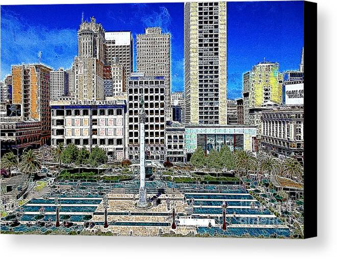 San Francisco Canvas Print featuring the photograph San Francisco Union Square 5d17938 Artwork by Wingsdomain Art and Photography