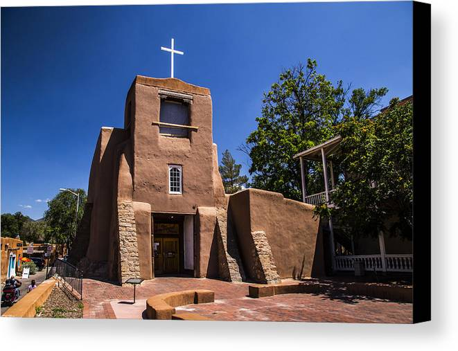 Route 66 Canvas Print featuring the photograph San Miguel Church by Angus Hooper Iii