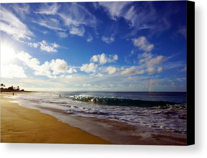 Sandy Beach Canvas Print featuring the photograph Sandy Beach Morning Rainbow by Kevin Smith