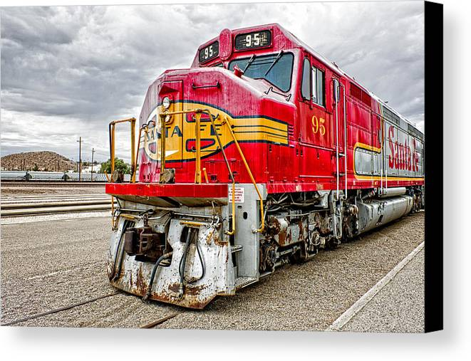 Trains Canvas Print featuring the photograph Santa Fe 95 In Retirement by Jim Thompson