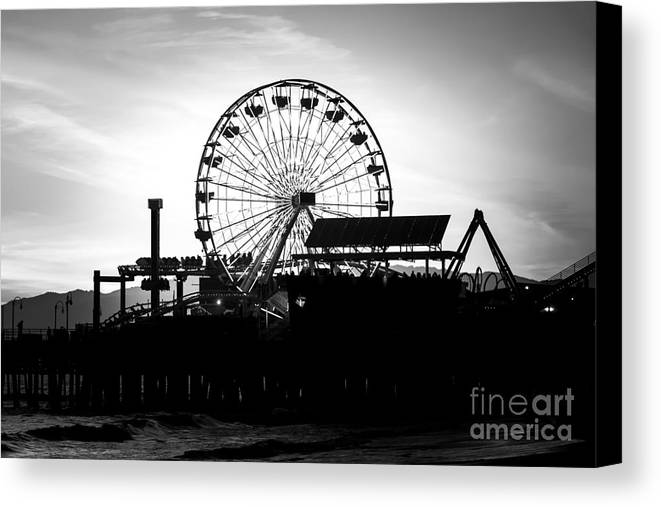 America Canvas Print featuring the photograph Santa Monica Ferris Wheel Black And White Photo by Paul Velgos