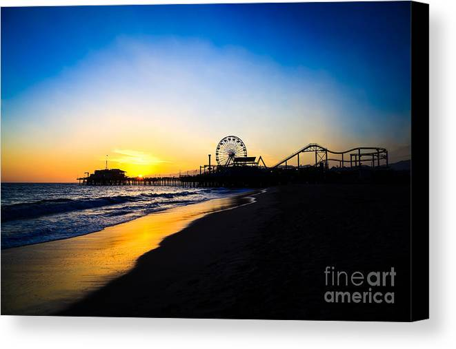 America Canvas Print featuring the photograph Santa Monica Pier Pacific Ocean Sunset by Paul Velgos