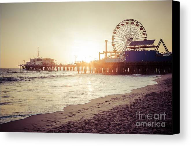 America Canvas Print featuring the photograph Santa Monica Pier Retro Sunset Picture by Paul Velgos