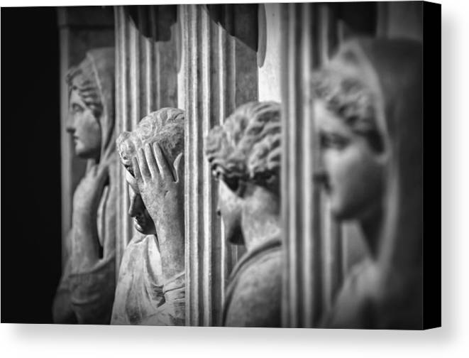 Archaeology Canvas Print featuring the photograph Sarcophagus Of The Crying Women II by Taylan Apukovska
