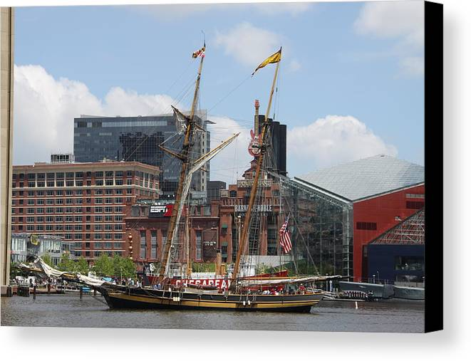Harbor Canvas Print featuring the photograph Schooner Arriving At Baltimore Inner Harbor by Christiane Schulze Art And Photography