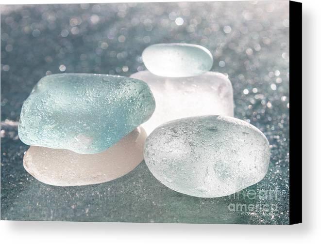 Sea Glass Canvas Print featuring the photograph Sea Glass Aqua Shimmer by Barbara McMahon
