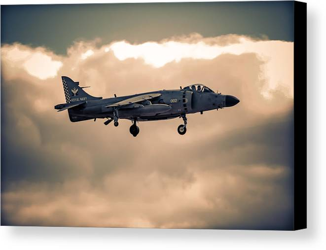 Hawker Canvas Print featuring the photograph Sea Harrier Silhouette by Chris Smith