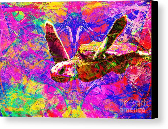 Abstract Canvas Print featuring the photograph Sea Turtle In Abstract V3 by Wingsdomain Art and Photography