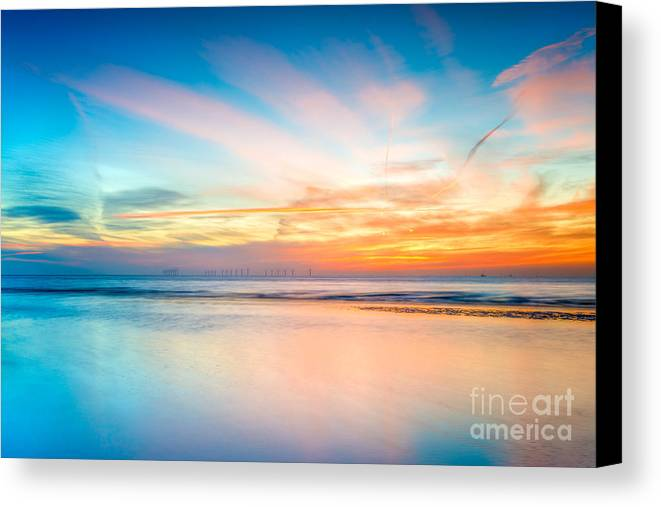 British Canvas Print featuring the photograph Seascape Sunset by Adrian Evans