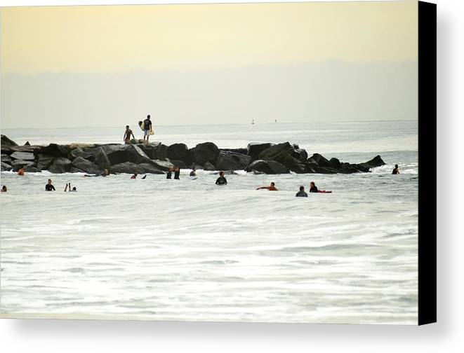 Surf Canvas Print featuring the photograph September Swell At Rockaway Draws Crowd by Maureen E Ritter