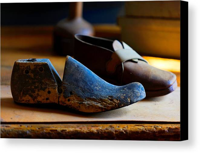 Shaker Canvas Print featuring the photograph Shaker Shoe Last by Lone Dakota Photography