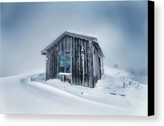 Balkan Mountains Canvas Print featuring the photograph Shed In The Blizzard by Evgeni Dinev