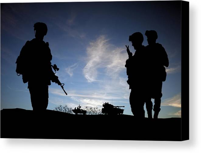 Army Canvas Print featuring the photograph Silhouette Of Modern Soldiers by Matthew Gibson