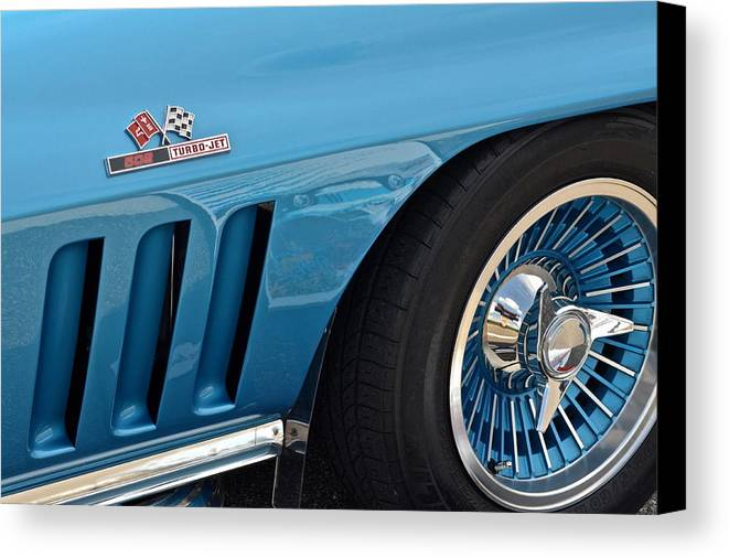 Corvette Canvas Print featuring the photograph Sixty Six Corvette Roadster by Frozen in Time Fine Art Photography