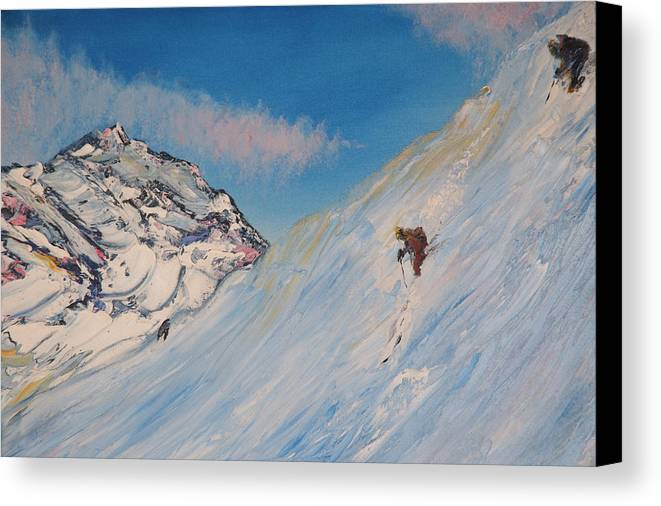 Ski Canvas Print featuring the painting Ski Alaska Heli Ski by Gregory Allen Page