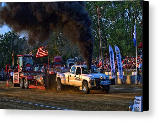 Smokin Diesel Canvas Print featuring the photograph Smokin Diesel Performance Pulling Truck by Tim McCullough