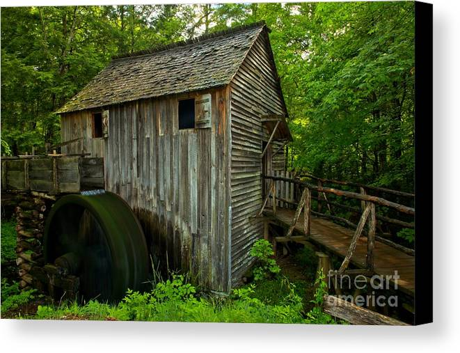 Cades Cove Grist Mill Canvas Print featuring the photograph Smoky Mountains Grist Mill by Adam Jewell