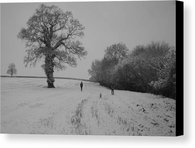 Wlking Canvas Print featuring the photograph Snow Walkers by Pete Abbott
