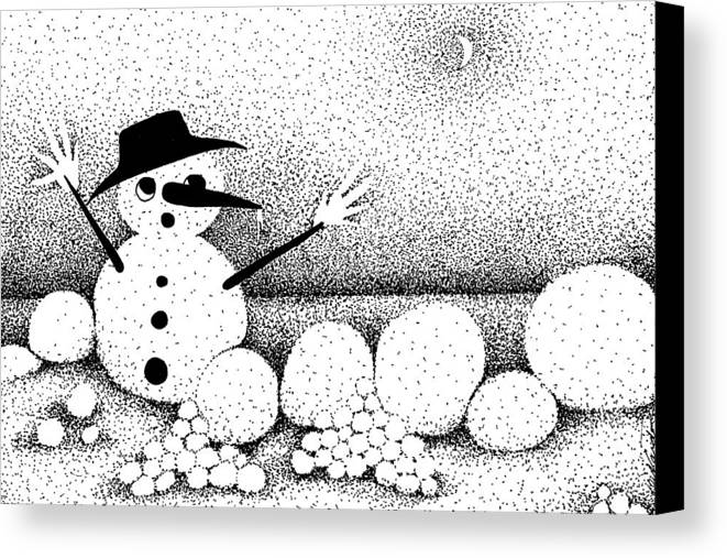 Designs Canvas Print featuring the drawing Snowball Fight by Joy Bradley