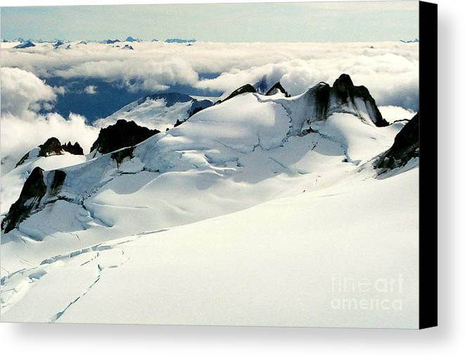 Snow Canvas Print featuring the photograph Snowfield Below by Frank Townsley