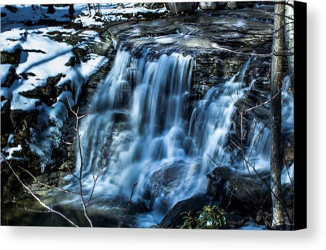 Waterfall Canvas Print featuring the photograph Snowy Waterfall by Jahred Allen