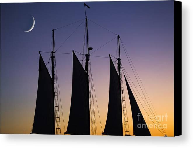 Schooner Sunset Canvas Print featuring the photograph South Carolina Schooner Sunset by Dustin K Ryan